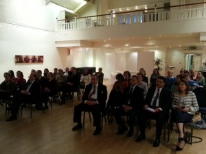 A view of the participants at the Great Hall of London's Hellenic Centre