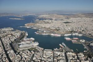 An areal view of the Passenger and Cruise section of the Port of Piraeus