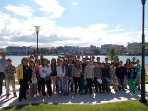 Students and their teacher in the city of Chalkis