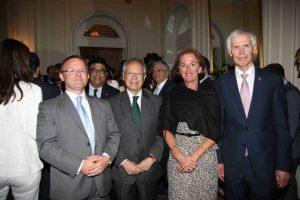 The British Ambassador John Kittmer, Radm Thimio E.Mitropoulos, Mrs. Chantal Mitropoulos and Sir Alan Massey