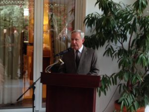 David D. Pearce, the US Ambassador in Athens delivering his speech