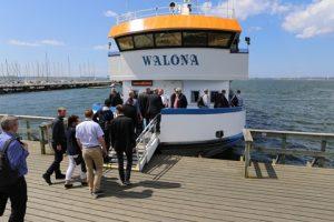 Conference delagates boarding the Walona