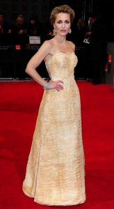 Gillian Anderson wearing a Sybil Connolly dress at the Baftas 2012.