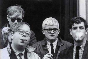 Andy Warhol, Henry Geldzahler, David Hockney and Jeff Goodman. 1963.Photograph, by Dennis Hopper. C Dennis Hopper, courtesy The Hopper Art Trust. www.dennishopper.com