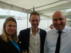 Lenka Myroniukova from the London P&I Clube with AoS's John Green and Theodoros Alfantakis also from the London P&I Club
