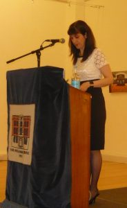Dr. Angeliki Lymberopoulou delivering her speech