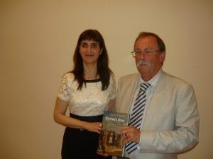 Dr. Angeliki Lymberopoulou with Prof. Roderick Beaton holding his winning book!