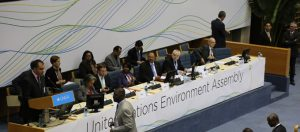 Mr. Naysan Sahba, Director of the Division of Communication and Public Information of UNEP, speaks at the start of the first-ever session of UNEA. Seated are (L-R): H.E. Ms. Sahle-Work Zewde, Director-General of the United Nations Office at Nairobi; Mr. Achim Steiner, UN Under-Secretary-General and Executive Director of the United Nations Environment Programme (UNEP); H.E. Ms. Professor Judi Wakhungu, Cabinet Secretary of the Environment, Water and Natural Resources of Kenya; H.E. Mr. Hassan Abdelgadir Hilal, Minister of Environment, Forestry and Physical Development of the Republic of Sudan, Outgoing President; UNEP staff and leadership.