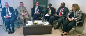Panellists Rollo Greenfield, Steve Cameron, Geoffrey de Mowbray, Grace Asemota, Kevin Korgba and Donna Marsh.
