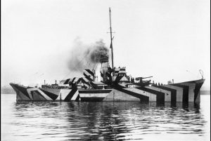 HMS Kildwick in dazzle camouflage , part of Surgeon Parkes Collection of Ships Portraits. Courtesy of Imperial War Museums.