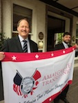 ATU's international vice president Bruce Hamilton with the ITF's Tom Powdrill outside the FirstGroup AGM