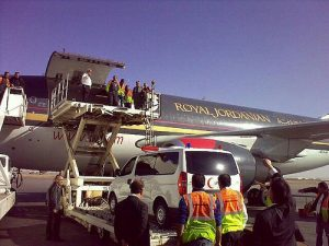 Unloading one of the relief flights in 2009