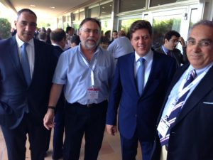 l to r: John Criticos, Sotiris G. Kaminis, Greece's Shipping Ministre Miltiadis J. Varvitsiotis and George Maghioros - another smiling group, suggesting success of the event!