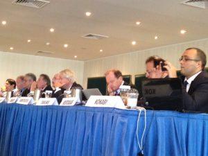 The first session panell with (l to r): P. Zachariadis, Colin Cridland, R. Cazulo, G. Gratsos, N.Pappadakis, Ph. Embirikos, G.A.Tsavliris, J.Kostouas and K. Kokabi