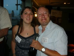 Transaid's Florence Bearman with Martyn  Wingrove from Riviera MAritime Media, one of the raffle winners