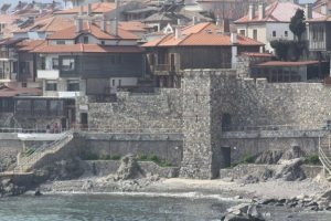 View of Sozopol and its restored south fortress wall and tower.