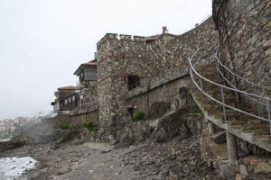 Restored fortress walls of Sozopol overlooking the Black Sea.