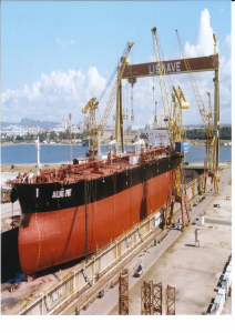 Jiaolong Spirit, a 159, 021 dwt Bahamian-registered crude oil tanker managed by Teekay under repair at Lisnave