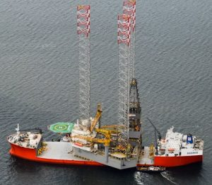 PROSPECTOR 1 arrives by ship in the Cromarty Firth.