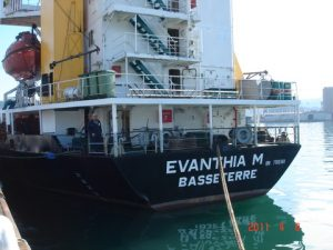 A St Kitts & Nevis-flagged vessel at home port and capital Basseterre