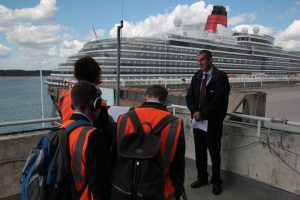 Students interview officials at Southampton for their video production. Photo by Andy Jones.