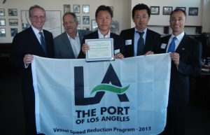 At the Los Angels Vessel Speed Reduction Award ceremony. Third from left is Mitsui O.S.K. Bulk Shipping (U.S.A), LLC. General Manager Ryosuke Sugimoto, fourth Mitsui O.S.K. Bulk Shipping (U.S.A), LLC. General Manager General Manager Seiji Kawada, and fifth MOL (America) Inc. District Sales Manager Tim Ashley