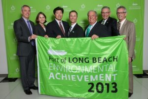 At the Long Beach Green Flag Award ceremony. Third from left is Mitsui O.S.K. Bulk Shipping (U.S.A), LLC. Assistant Manager Nick Mori, and fourth is MOL (America) Inc. District Sales Manager Tim Ashley