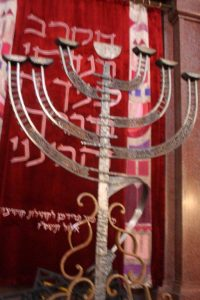 Menorah with symbols of the Holocaust, Orthodox synagogue, Košice.