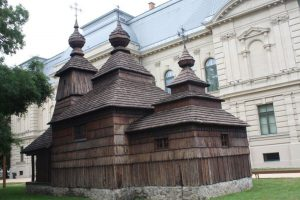 Wooden church in grounds of East Slovakia Museum.