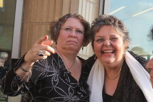 Anne Cowne of Lloyd's Register (left) and WISTA-UK president Maria Dixon.