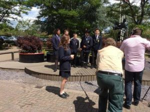Filming outside the school. Photo by Lara Simpson.