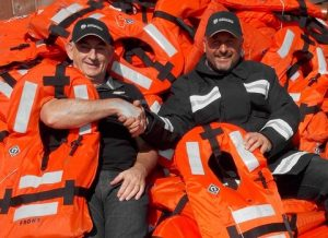 Bruce Reid, CEO, IMRF (left) with Giles White, Crew Commander of the Devon and Somerset Fire and Rescue Service