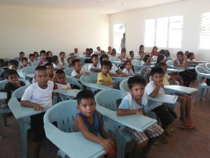 Back to school after typhoon devastation.