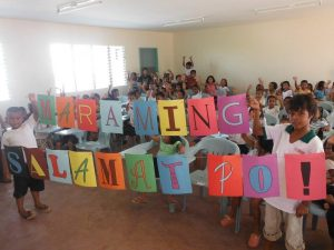 Children cheer project donors