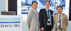 Jun-Keun Choi, Senior Design Engineer Hanjin Heavy Industries, Benjamin Scholz, DNV GL Maritime Ship Type Expert of Gas Carriers, Arthur Barret, LNG Bunkering Program Director, GTT, at the presentation at the DNV GL Forum.