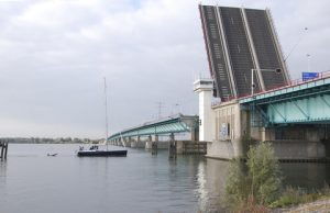 Open Haringvliet Bridge in the Netherlands to allow sailing boats to pass. (c) Royal HaskoningDHV