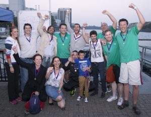 Joint winners Scorpio with gold medallist Helen Glover and Oscar Parry