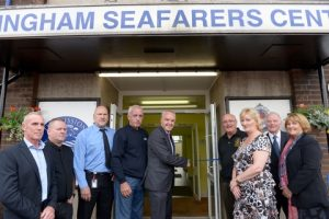 ABP Director Humber, John Fitzgerald performs the official opening with members of the ABP recovery team and Mission to Seafarers staff (image courtesy of Grimsby Telegraph)