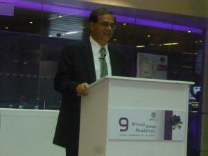 Gikas Hardouvelis, Greece's Minister of Finance delivering the keynote speech
