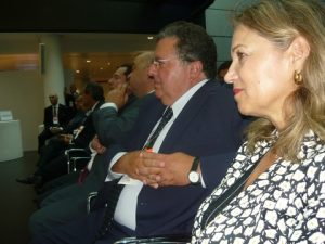 Frontline...bankers listening Gikas Hardouvelis speech; Vassiliki Cambell head of the National BAnk of Greece in Londom, Antonis Pilavios  general manager from Alpha Bank's Wealth Management, George Zanias and others