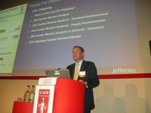 Douglas Mavrinac presenting the LPG sector at the podium
