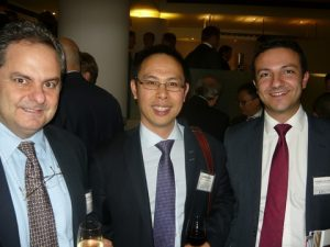 Takis N. Pappas from Silverstream Technologies, with Edwin Pang from Knud E. HAnsen A/S in London and Evangelos Assimakis, Investment Manager at Rathbobes in Edinburgh