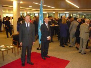 The Secretary-general Koji Sekimizu and Andrew Winbow ready to greet us