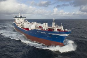 The Bit Viking was the world's first vessel to have its main machinery converted to burn LNG as fuel. (Pic: DNV-GL)