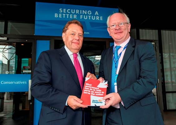 Rt Hon John Hayes MP, Minister of State for Transport with responsibility for Ports, welcomes the manifesto with ABP Chief Executive James Cooper at the Conservative Party Conference in Birmingham