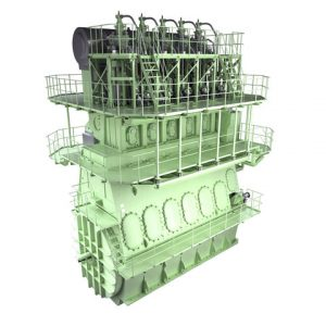Graphical rendering of an MAN B&W 5G70ME-GI engine