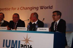 Mark Edmondson (centre) during IUMI ocean hull panel discussion.