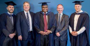 l-r Hadrian Roberts, IOE Chairman Ian Taylor, Edward Kamweti , IOE Director of Education Kevin Shakespeare, James Simpson