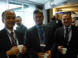 l to r: Yasushi Nakamura, Dimitris Monioudis and Konstantinos Fakiolas during the coffee break