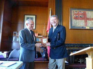 IMRF Chairman Michael Vlasto presenting a memento to Randy Strandt, volunteer for the Royal Canadian Marine SAR.